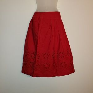 Nwot Loft Womens Red Long Skirt Size 12